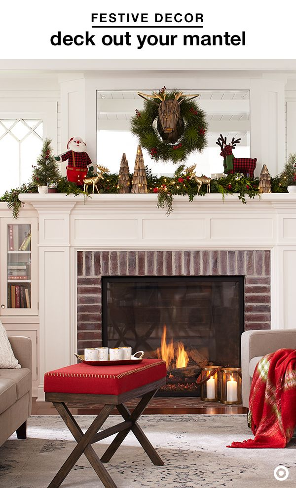 Make your mantel the center of attention with pops of classic Christmas decor. Give a traditional wreath a woodsy upgrade with a faux deer head, and mix gold deer figurines and dew lights among greens to add just the right amount of elegance. Finish your mantel makeover with a buffalo-check deer or santa, and wooden trees to play up a festive, cabin-inspired feel.