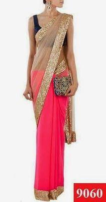 Striking Neon Pink half half Saree