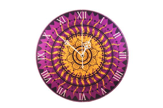 """"""" Wall Clock - """"Purple Golden Mandala"""" What is a Mandala? It is a spiritual and ritual symbol in Indian religions, representing the universe. In common use, 'mandala' has become a generic term for any diagram, chart or geometric pattern that represents the cosmos metaphysically or symbolically; a microcosm of the universe. In various spiritual traditions, mandalas may be used for focusing the attention of practitioners, as a spiritual guidance tool, for establishing a sacred space, and as an…"""