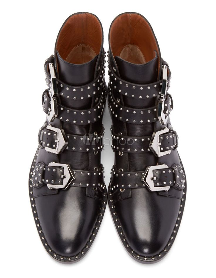 Bottes en cuir noir Stud moto bottines cloutées pour dames talon Chunky Model P…