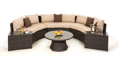 Debenhams Dark brown rattan-effect 'LA' half moon garden sofa set | Debenhams