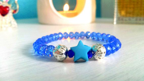 Handmade spiritual yoga mala bracelet with real blue quartz gemstones made for healing