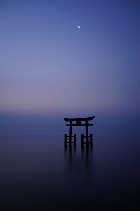Torii standing in the Lake Biwa - Shirahige Shrine, Takashima, Shiga, Japan