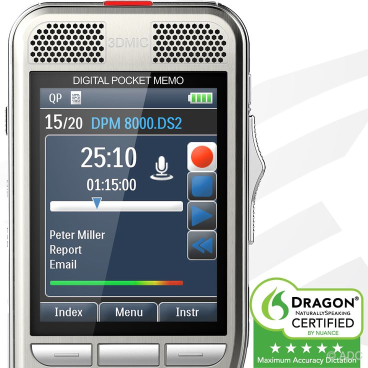 Philips DPM8000 Dictation Recorder in stock at American Dictation. Dragon Rated digital dictation recorder. Free shipping, installation and support.