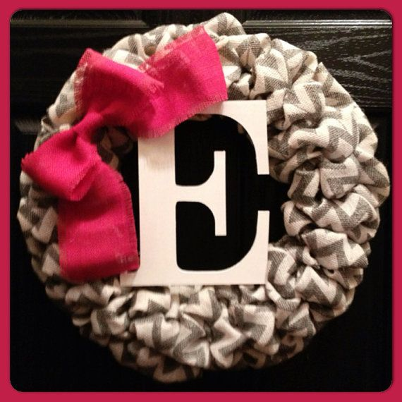 Chevron Burlap Wreath with initial and by SheekBurlapDesigns, $65.00