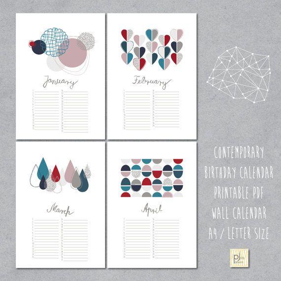 Diy Birthday Calendar Template : Perpetual birthday calendar diy printable pdf instant