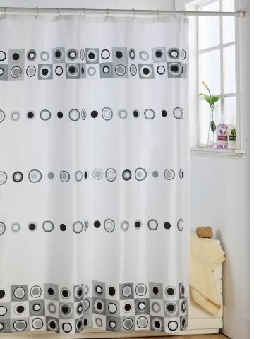 Cortina de ba o en poliester con circulos grises y negros for Argollas de cortinas de bano