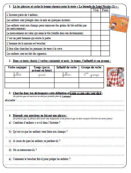La légende de Saint Nicolas : questionnaire pour les CE2 ...