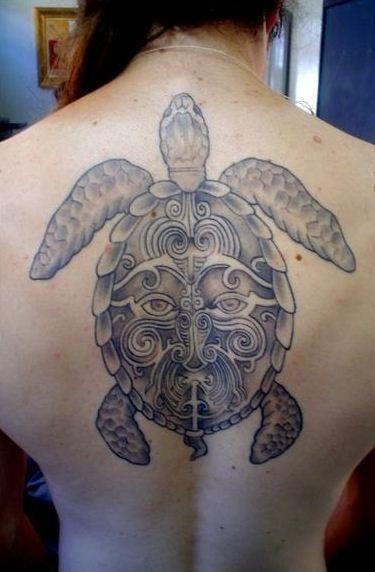 Amazing black grey maori turtle tattoo on back - Tattooimages.biz