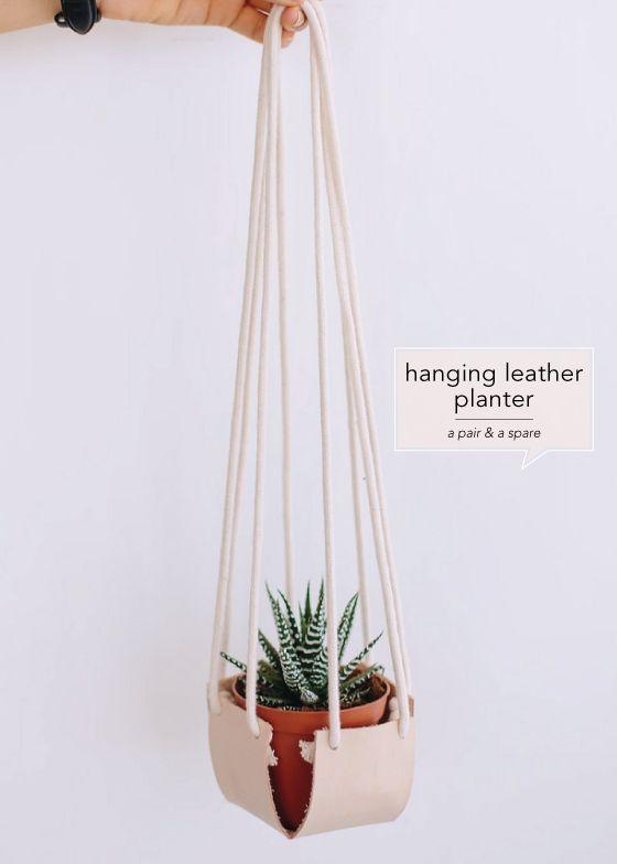 DIY Hanging Leather Planter