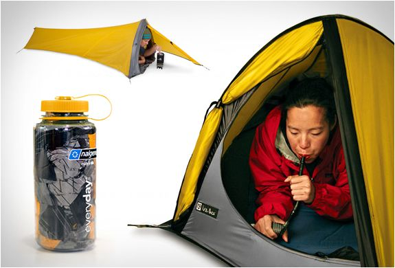 The Gogo Elite Tent by Nemo is the ultimate solution for adventurers that want to pack light, perfect for bicycle or motorcycle touring, sea kayaking, or other adventures. The Gogo Elite 1-Person Ultrlight Bivy Tent  weighs only 1.4 lbs and features an inflatable structure allowing the tent to be setup in 15 seconds. When packed, the incredibly small tent fits into a standard 1L water bottle!