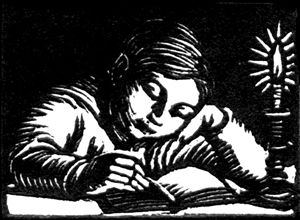 Gwen Raverat (1885-1957), British / 'Boy Reading', 1932, wood engraving ... depicts boy reading book by candlelight, illustration in 'The Cambridge Book of Poetry for Children' p.iii ... would make a great bookplate