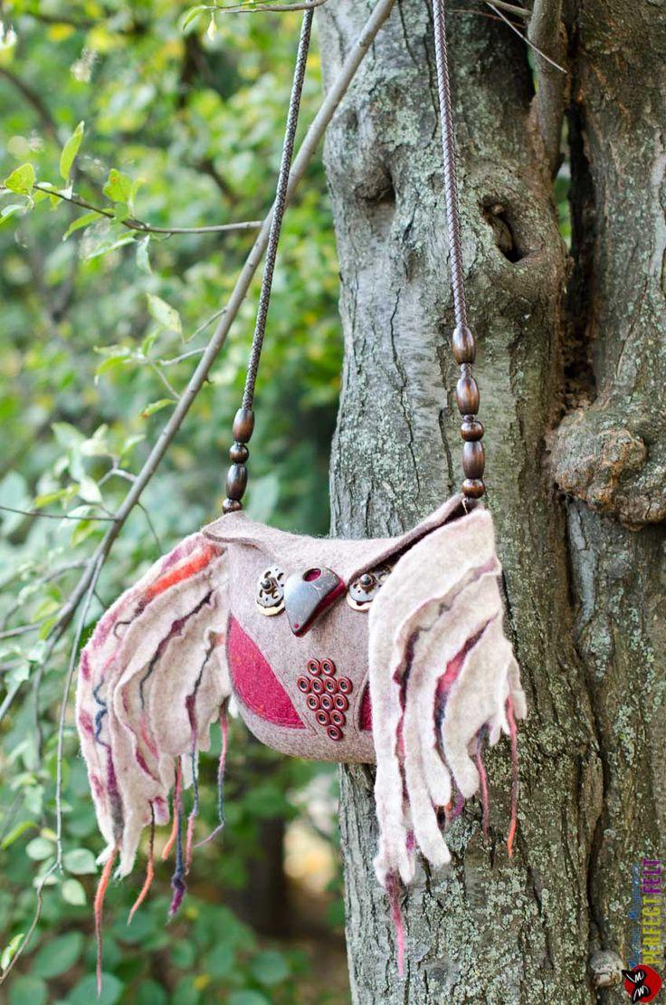 felted bag boho style Owl motley feather