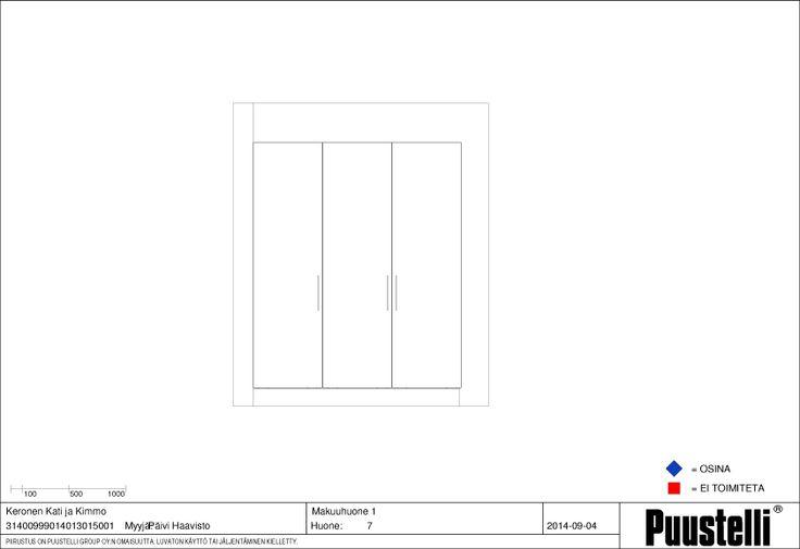 Makuuhuone 1:sen kaappirivistö, 3x600 kaapit. Mattavalkoiset ovet ja pitkät vetimet.