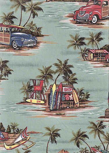 70halawa From Barkcloth Hawaii Fabric Sho A Sage Green