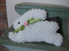 Honey Bunny made from vintage chenille bedspread - Crafting idea