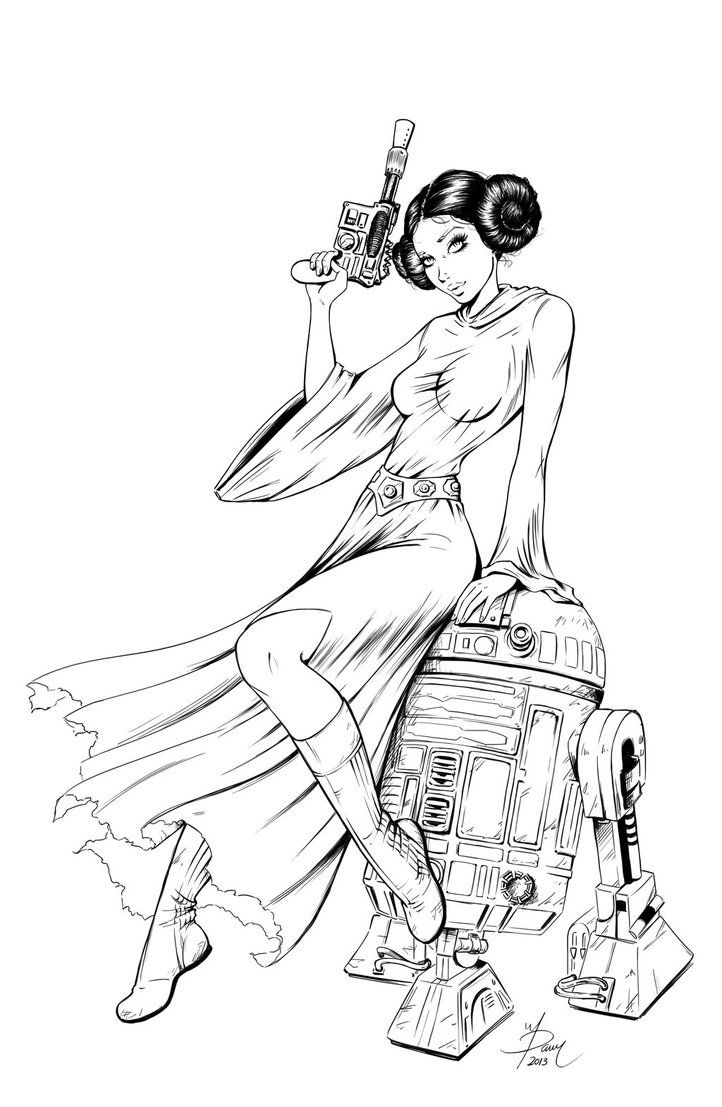 Princess leia coloring pages - Princess Leia Commission Inked By Dawn Mcteigue On Deviantart