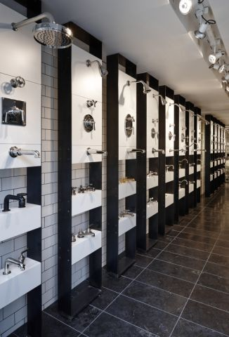 A series of Waterworks fittings in the London Showroom