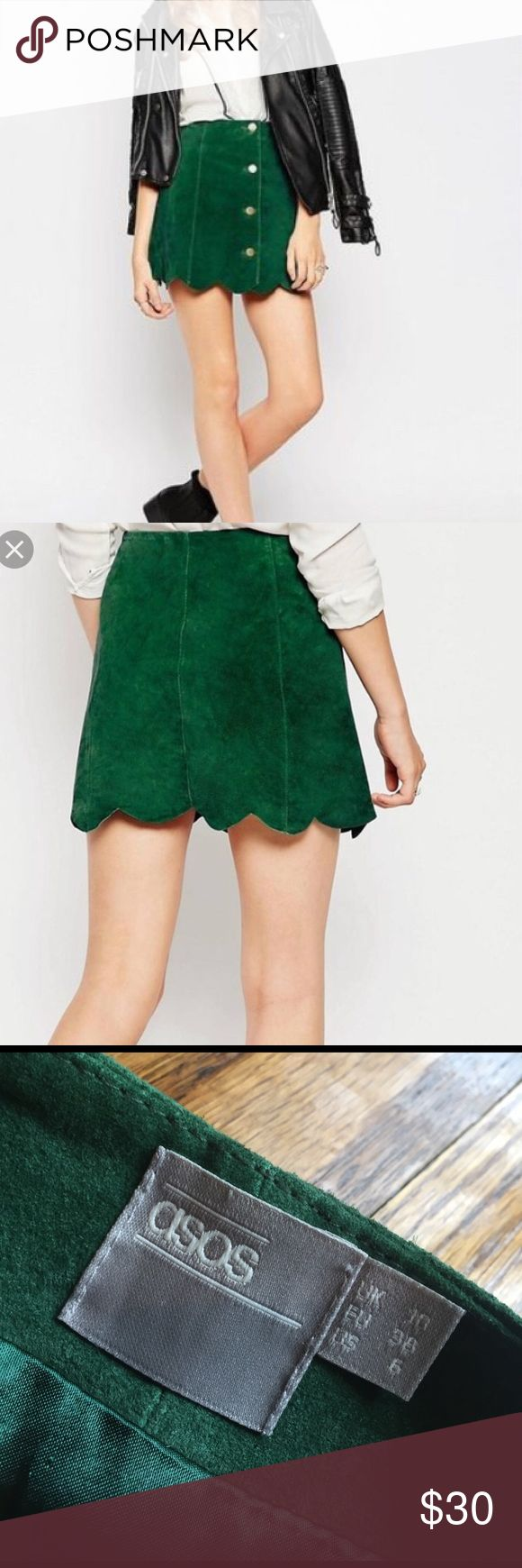 """Asos green suede scalloped skirt Perfect condition, worn once, 15.5"""" long, gold button through buttons on front ASOS Skirts Mini"""
