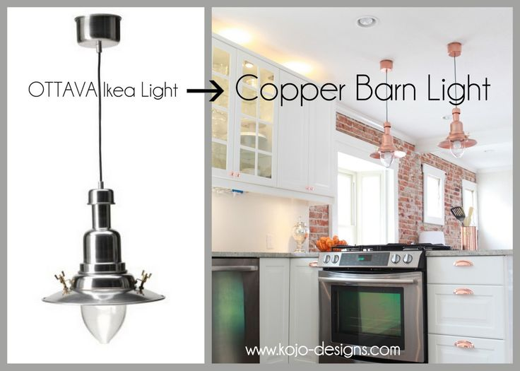 IKEA hack- how to turn an OTTAVA light into a copper barn ...