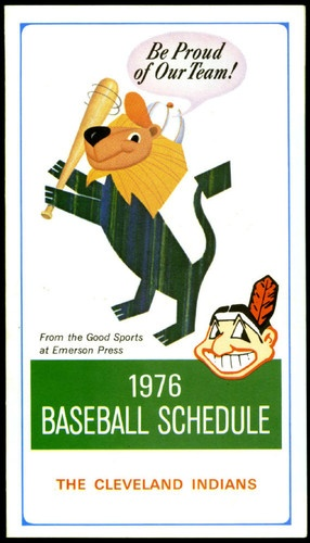 1976 CLEVELAND INDIANS EMERSON PRESS BASEBALL SCHEDULE NMMT FREE SHIPPING