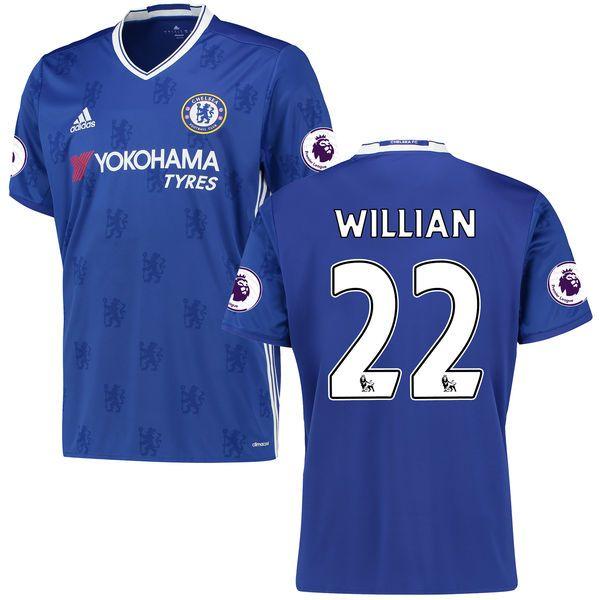 Men's adidas Willian Borges da Silva Blue Chelsea 2016/17 Replica EPL Badge Home Jersey - $86.24