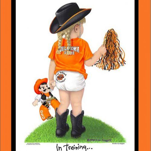 Oklahoma State Cowboys custom cheerleader art print In Training matted
