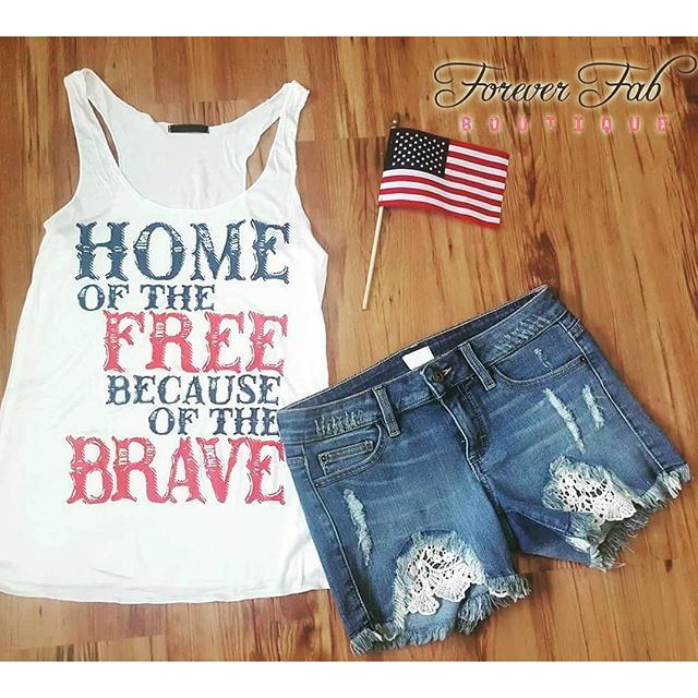 Home of the Free Because of the Brave Tank - Crochet Denim Shorts - OOTD Forever Fab Boutique - American Pride Outfit - Memorial Day weekend outfit - 4th of July Outfit #shop #fashion