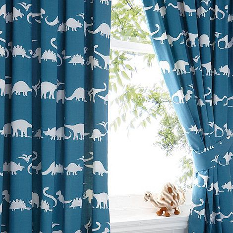 Bluezoo Kid S Blue Dinosaur Print Curtain Set At