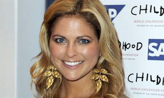 Princess Madeleine of Sweden wearing large gold leafy earrings. Marie Poutine's Jewels & Royals: Princess Madeleine of Sweden