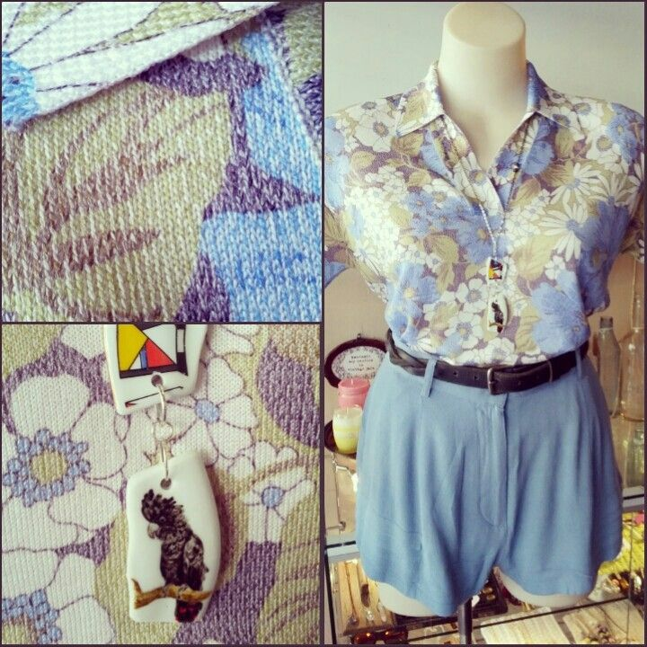 #vintage #blue #daisies #collared #top $35, @A Story Of ... #black #cockatoo #plate #piece #necklace $40, and #minkpink #cornflower #blue #pleat #shorts $64