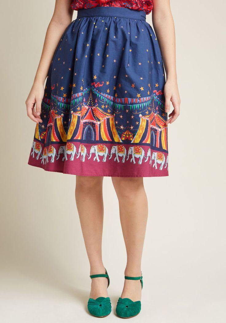Charming Cotton Skirt with Pockets in Circus in 1X by ModCloth