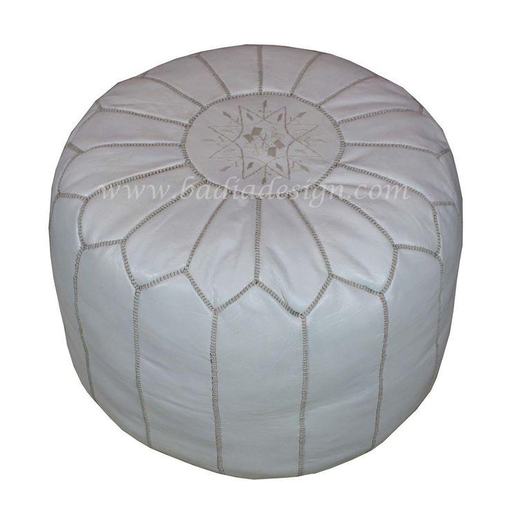 Moroccan White Round Leather Ottoman Rlp010 Moroccan