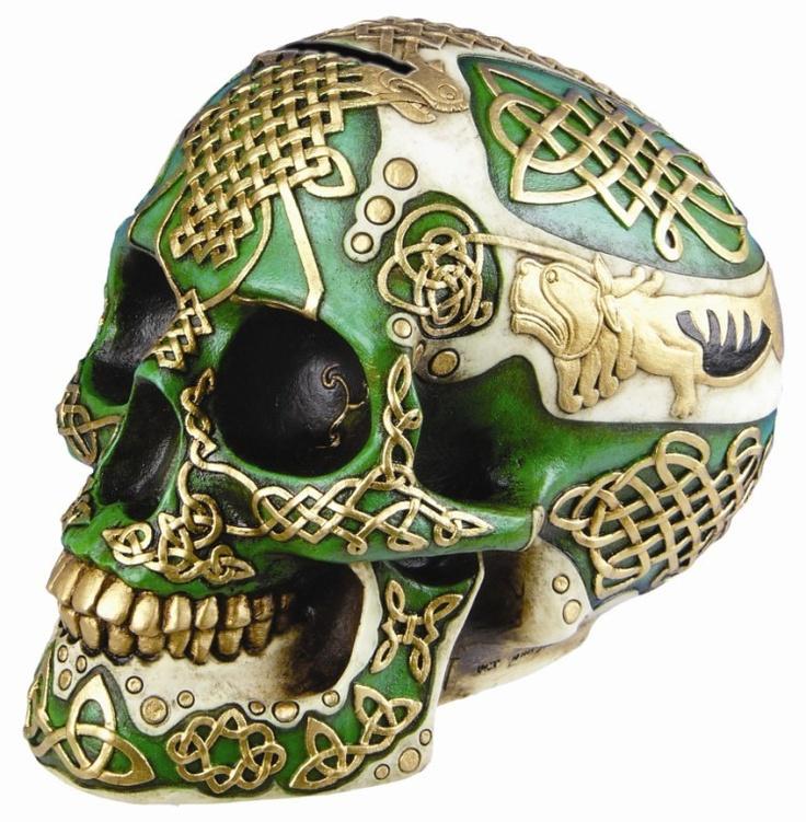 Celtic skull piggybank
