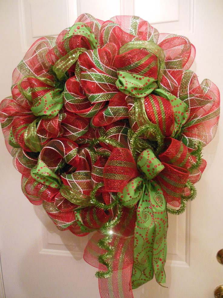Festive Red and Lime Green Deco Mesh