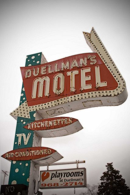 VINTAGE NEON SIGNS, Duellman's Motel, kitchenettes, air conditioned