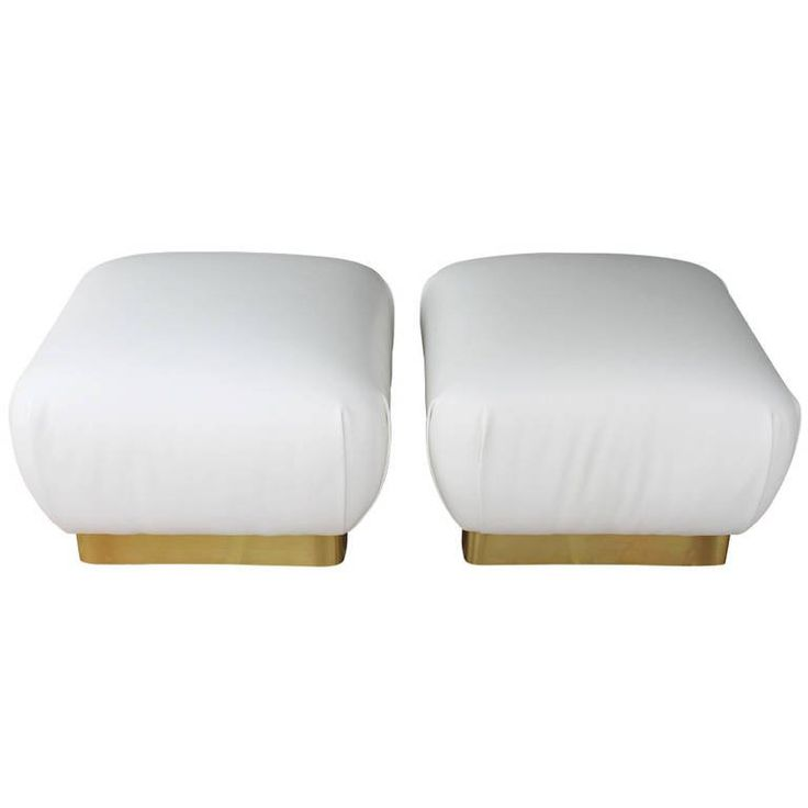 Pair of White Leather Ottomans by Marge Carson | From a unique collection of antique and modern ottomans and poufs at https://www.1stdibs.com/furniture/seating/ottomans-poufs/