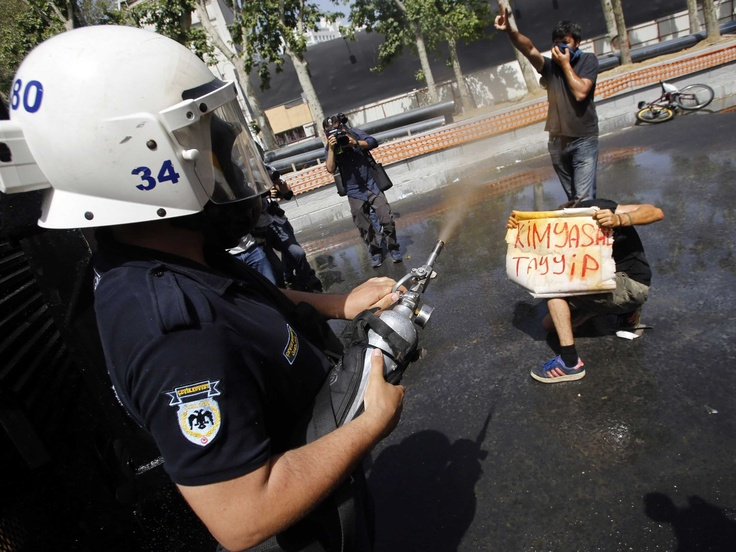 "A protester holds a sign that reads ""Chemical Tayyip"" while being sprayed with tear gas"