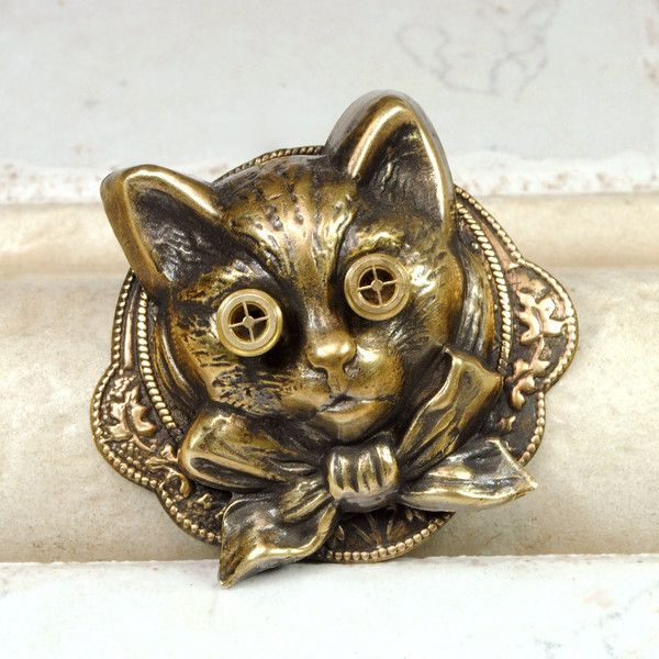 Steampunk Pin Steampunk Hat Pin Cat Brooch Kitten Kitty Steampunk Goggles Steam Punk Brooch Steampunk Jewelry By Victorian Curiosities
