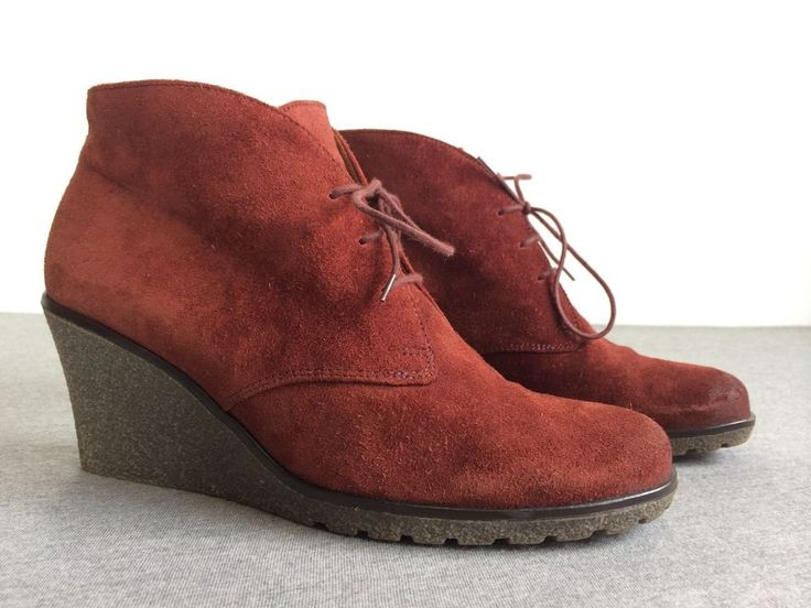 GABOR Ankle Boots Nubuk Suede Leather Portugal Waterproof Sole Red  Women 6.5 #Gabor #FashionAnkle