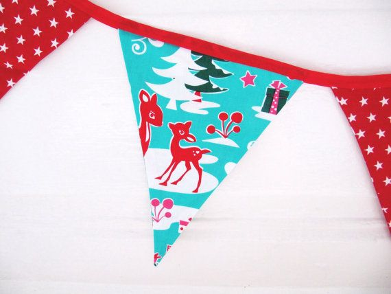 Kitsch Christmas Bunting Quirky Festive by LilyLovesShopping