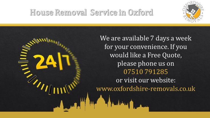 Oxfordshire Removals Man and Van Services are available 7days a week for your convenience.