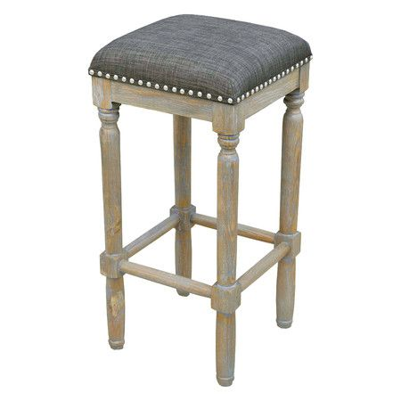 stylish backless counter height bar stools are upholstered in a rich brown linen fabric