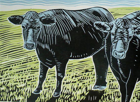 Two Black Cows A Linoleum Block Print/Linocut of by ChromaFineart