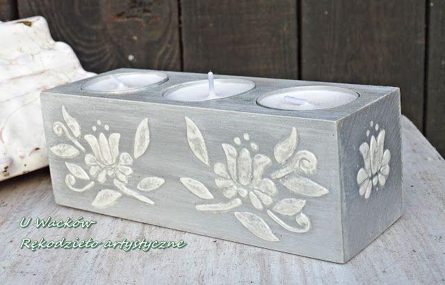 Drewniany świecznik na tealighty