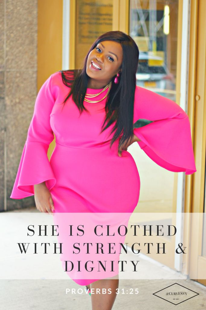 SHE IS CLOTHED WITH STRENGTH & DIGNITY, proverbs 31:25, plus size fashion, modest fashion, church fashion, women's march, flare sleeves, how to wear pink, new york fashion
