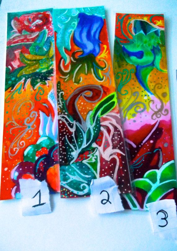 Vibrant colours Abstract  Mixed media Bookmarks set by Cpartshop