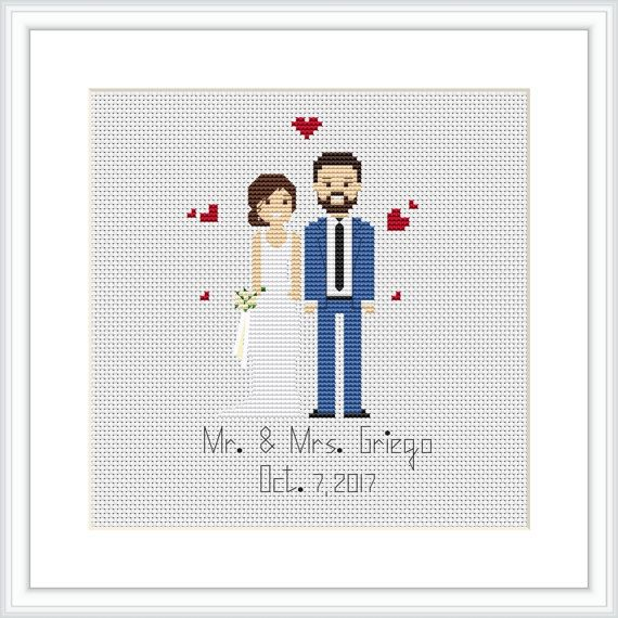 Custom Wedding cross stitch pattern PDF Bridal Shower by Xrestyk