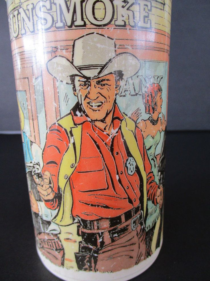 1972 GUNSMOKE Aladdin Thermos Bottle Matt Dillon Bank Gun Stand Off Half Pint