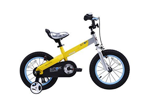 RoyalBaby Matte Buttons Kid's Bike, Boy's Bikes and Girl's Bikes with training wheels, Gifts for children, 12 inch wheels, Matte Yellow